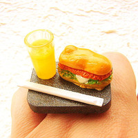 Kawaii Food Ring Orange Soda Sandwich  Miniature Food Jewelry