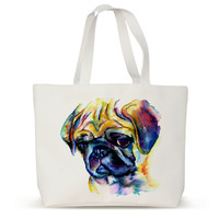 Watercolor Animal Pug Canvas Eco Women Handbags Travel Shopping Shopper Bags