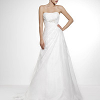 "Strapless, ""A"" Cut, Flower Detail Wedding Dress MODEL 1011"