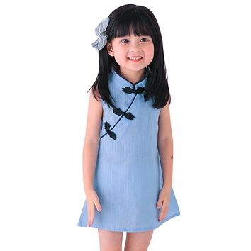 Chinese Style Kids Dress for Girls 2017 New Cheongsam Dress Girls Vintage Solid Color Sleeveless Princess Dresses Clothes 2-7Y