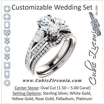 CZ Wedding Set, featuring The Jackie engagement ring (Customizable Oval Center with Flanking Pear Accents and Pavé Band)