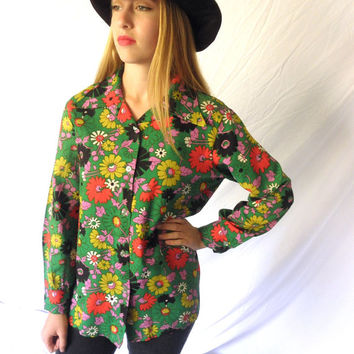 Vintage 70s Hippie Chick Floral Ladies Shirt Polyester Long Sleeved Blouse Hip Boho Flower Power Jackpot Jen