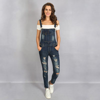 2017 Summer Hole Jeans Denim Jumpsuit Overalls rompers women one piece jumpsuits sexy bodysuit salopette femme long pencil P0952