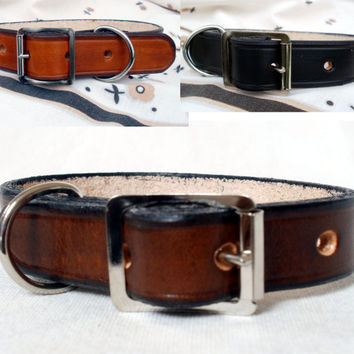 "Leather dog collars, 1"" wide, large dog collar, black dog collar, brown dog collar, handmade"