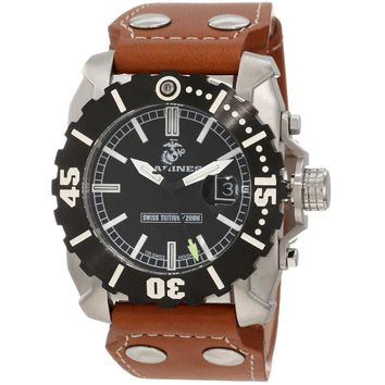 U.S. Marine Corps WA122 Men's Armor Swiss Tritium Sport Black Dial Brown Leather Strap Dive Steel Watch