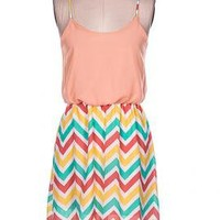 Candy House Whimsy Multicolor Chevron Contrast High Low Dress in Peach | Sincerely Sweet Boutique