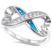Lab Created Blue Opal & Cz Heart Shape Infinity .925 Sterling Silver Ring Size 10