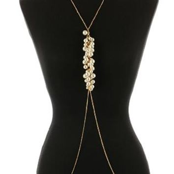 Body Chain Pearl Fringe Necklace And Link Chain 22 Inch Long