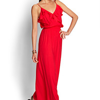 FOREVER 21 Ruffled Maxi Dress Coral Large