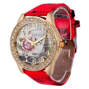 Relojes Women's Rose Pattern Watches Lady Leather Band Retro Design Analog Quartz Wrist Watch Female Clock Relogio Feminino #LH