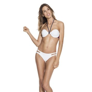 Ondademar Women's Cannoli Swimwear Bandeau White Bikini Set