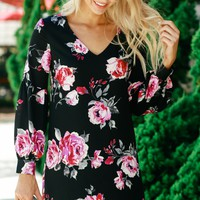 Floral Shift Dress Jet Black