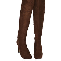 Missy Platform Over The Knee Heeled Boots - Brown Suede