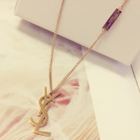 YSL metallic necklace with rose gold clavicle chain