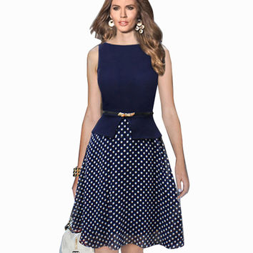 Women Sexy Vintage Chiffon Patchwork Boat Neck Polka Dot Swing 50s Rockabilly Cocktail Dress without belt
