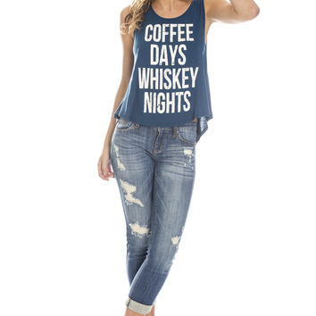 Coffee Days Whiskey Nights Tee - Teal Ed