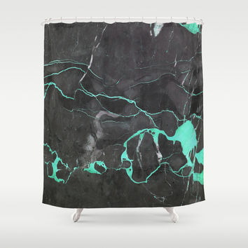 Grey and Blue Marble Shower Curtain by Cafelab
