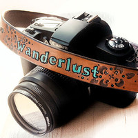Wanderlust Leather Camera Strap - Personalize with stain color, accent color and hardware - Compass Rose