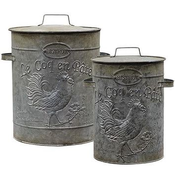 Vintage Metal Canisters (set of 2)