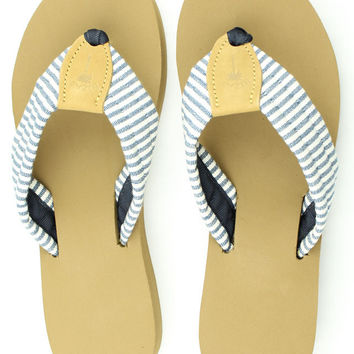 Fabric Sandal in Navy Stripes by Eliza B.