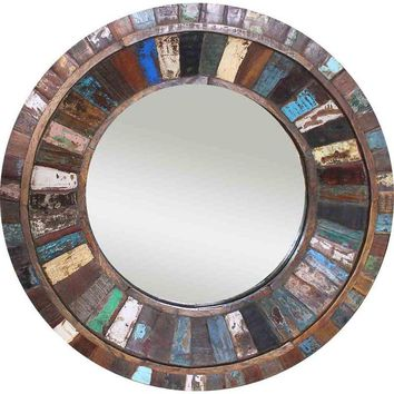 Pre-owned Reclaimed Painted Wood Round Mirror