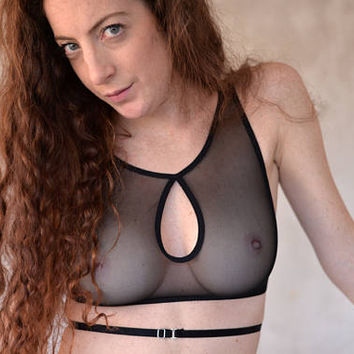Sheer mesh bra, keyhole bralette, criss cross back, see through lingerie, harness, sheer bralette, sheer lingerie, strappy bra, wrap around