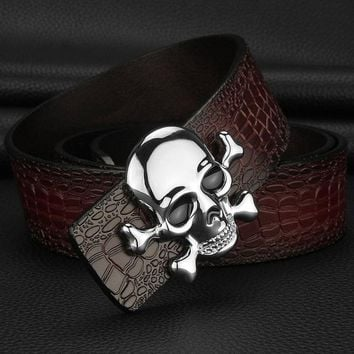 High Quality Skull buckle luxury belts mens Pirate Crocodile Grain designer wide belts Cowskin genuine leather cintos masculinos - Red Silvery buckle, 115cm