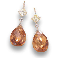 Yellow, Clear, & Champagne Cubic Zirconia Earrings