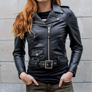 Schott NYC 218W Perfecto Lambskins Women Leather Moto Jacket  Made in USA noir