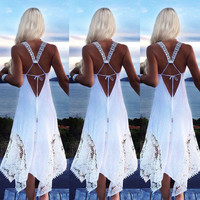 Women Sleeveless Deep V Neck Backless Hollow Lace Crochet Cotton Linen Sundress
