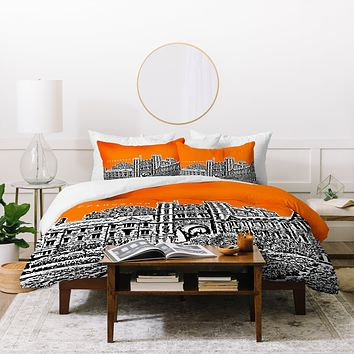 Bird Ave Princeton University Orange Duvet Cover