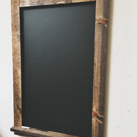 """Reclaimed rustic wooden chalkboard with ledge 36x24"""""""