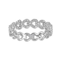 Diamond Accent Sterling Silver Heart Ring (White)