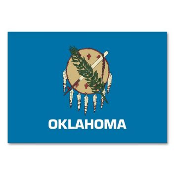 Patriotic table card with Flag of Oklahoma