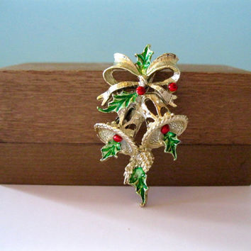 Vintage Kitsch Christmas Pin Gold Bells and Holly Holiday Brooch Gerrys