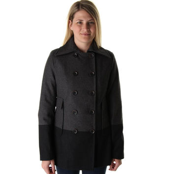 Nine West Womens Wool Blend Double Breasted Pea Coat