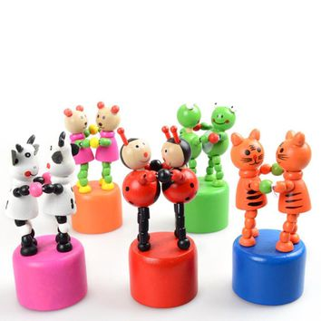 Intelligence Colorful Couple Dancing Stand Wooden Toy