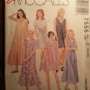 Uncut 1995 McCall's Sewing Pattern, 7555! Large/XL/Women's/Misses/Pullover Swing Type Dress/Loose Fitting Sleeveless/Short Sleeve Dress