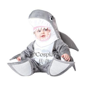 Free shipping, halloween party cosplay baby shark costume for one year old baby shoes