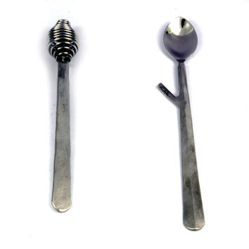 Inox Nascent Steel Ridge Design Honey Drizzler n Jam Spoon 2 Pcs. Set