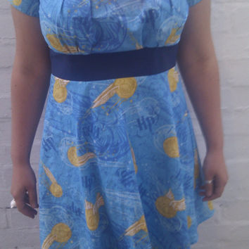 Harry Potter Dress  Blue Golden Snitch by sweetcheeksstitches