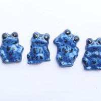 Blue Poison Dart Frog Magnets Set of 4 pottery magnets Dendrobates Azureus