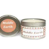 Petrichor Soil Candle Scented Soy Tin Candle 8oz. Lord of the Rings Candle. Soy Candle. Soy Candles, Soy Tin Candles. Tin Candle, Candles