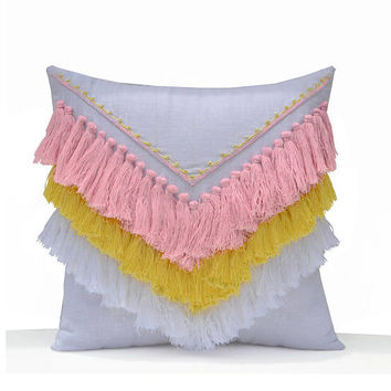Pink Yellow White Shaggy Pillow, Boho Pillow Cover, Geometric Decorative Pillow Cover, Kids Room Pillow, Dorm Pillow, Housewarming Gifts