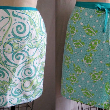 Vintage 90s REVERSIBLE Lilly PULITZER Wrap SKIRT Turtles and Fishes Print Preppy  Waist: 31""