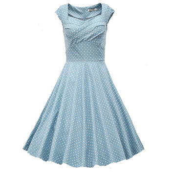 Fashion 50's summer women vintage Bow V-neck dress Audrey Hepburn lady style Picnic rockabilly dresses  LYQ-60-56