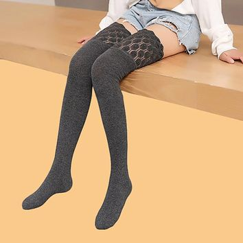 PEONFLY Lace Defence Stovepipe Odor Long Canister Overknee thigh knee high Socks sexy stockings cotton for women Autumn Winter