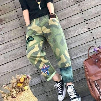 fun with green boho Camouflage trousers hip hop pants hippie jeans Women Clothing Harajuke hiphop Japan Korean Style gypsy