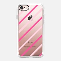 Pink Duo Diagonal Stripes (transparent) iPhone 7 Case by Lisa Argyropoulos | Casetify