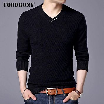 COODRONY Mens Sweaters And Pullovers Pure Merino Wool Sweater Men 2017 Winter Thick Warm Button V-Neck Cashmere Pullover Men 308